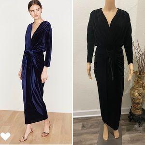 MISA blk velvet maxi dress XS